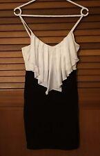New TEMT Size S front frill black & cream spaghetti strap contour dress