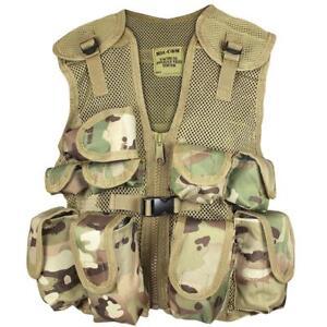 Childrens Child's Kids Army Style Multicam MTP Camo Webbing Combat Assault Vest