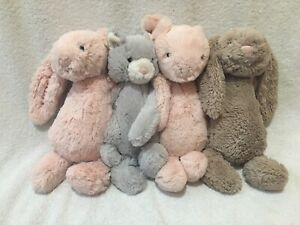 LOT OF 4 Jellycat London Stuffed Animal Plush Toy Rabbit Bunny Cat Pig Pink Gray