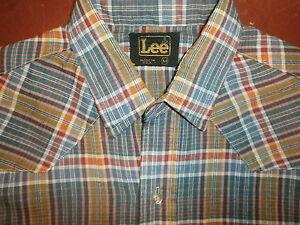 Vintage 70s 80s Lee Bouton Avant Chemise à Carreaux Manche Longue Olive Vert Or