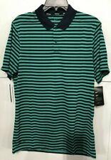 Men's SZ L Nike Golf Victory Stripe DRI-FIT Polo Shirt Emerald/Navy  891853 370