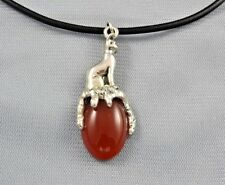 Egyptian Bast Bastet Cat Goddess on Red Carnelian Gemstone  Pendant 1-5/8""