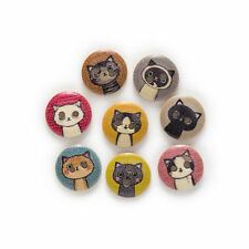 10 x Wooden Cat Face Buttons 15mm 2 hole - Kitty Kitten Coloured - Craft Sewing