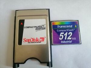 transcend industrial 512MB CF with Compact Flash Card adapter PC PCMCIA Card
