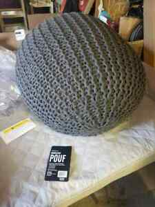 Urban Shop Round Knit Pouf Gray 18x18x15