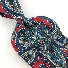 """XL 62"""" OSCAR DE LA RENTA TIE RED Green BLUE Ancient Madder Necktie Ties I7-691"""