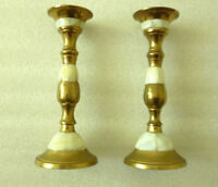 Small Pair Of Brass Candlesticks With Mother-Of-Pearl - Modern