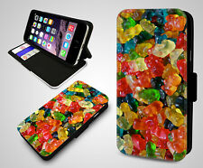 Gummy Bear Candy Gummi Jelly Beans Retro Sweets Leather Flip Phone Case Cover