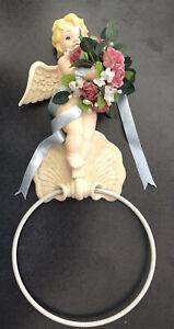 "1999 Ceramic Resin CHERUB Towel Holder Hook Ring Wall Mount Pink Floral 14"""
