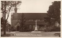1910's VINTAGE REAL PHOTO POSTCARD - St. MATTHEWS CHURCH & WAR MEMORIAL SKEGNESS