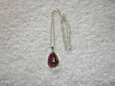 Ex-Display multicolores collar de Lágrima Cristal Vidrio Z