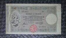 25 LIRE BANCO DI SICILIA BIGLIETTI AL PORTATORE DECR 6 AGOSTO 1918 BB R2