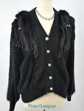 VANGO Long Sleeve Angora Blend Cardigan Jacket bead evening sweater SZ S VTG 80s