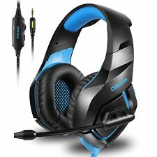 Gaming Headset With Mic Stereo Bass for PS4, Xbox One, PC,  Noise Reduction Blue