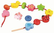 Lelin First Threading Lacing Friends Wood Wooden Activity Toy For Childrens