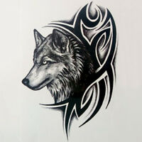 2x Wolf Head Waterproof Temporary Removable Tattoo Body Arm Leg Art Sticker W EB