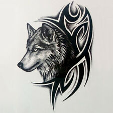 2x Wolf Head Waterproof Temporary Removable Tattoo Body Arm Leg Art Sticker