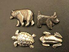 New listing Set of 4 Vintage Danforth Pewter Maiden Vermont Buttons Bear Dog Frog Turtle