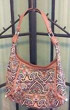 Tignanello Canvas Faux Leather Shoulder Handbag Purse Multi Brown Orange Blue