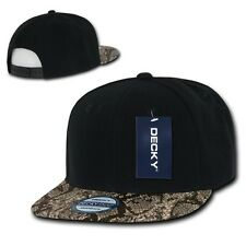 Black & Brown Snake Animal Print Flat Bill Snapback Baseball Cap Caps Hat Hats