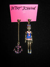 BETSEY JOHNSON IVY LEAGUE SKULL SAILOR GIRL AND ANCHOR EARRINGS