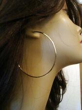 MEDIUM SIZE 2.25 INCH HOOP EARRINGS GOLD TONE SIMPLE THIN HOOPS