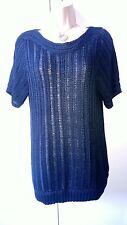 M&S Indigo Collection size 14 black short sleeved chunky but open knit tunic top