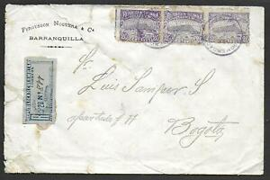 Colombia covers 1903 R-cover Barranquilla to Bogota