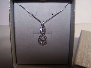 NEW ZALES JEWELERS INFINITY STYLE SAPPHIRE ACCENTS STERLING SILVER PENDANT&CHAIN