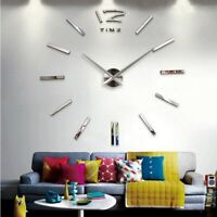 Large Wall Clock 3D Watch diy Acrylic Mirror Stickers Horloge Quartz Needle Home