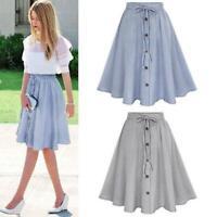 Women Summer High Waist Button Flared Midi Skirt Party Loose Skater Dress Q