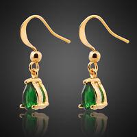 Neu ModeSchmuck Damen Zirkonia 18K Gold Vergoldet Gruen Smaragd Ohrringe