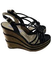 Paloma Barcelo Black Wedge Sandals Sz 40 New