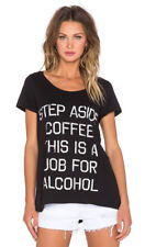 NEW Rebel Yell Women's Step Aside Coffee Tee Black Size SMALL