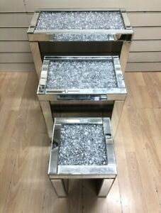 Mirrored Coffee table -Nest of Tables -Crushed Diamond - Free Delivery! Pedestal