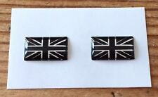 2 x MINATURE UNION JACK FLAG Stickers/Decals - CHROME/BLACK HIGH GLOSS DOMED GEL