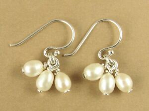 Pearl and silver cluster earrings. Small. Real pearls. Sterling silver 925.