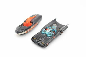 2 x Vintage CORGI Batmobile & Batboat Diecast Models Inc. Two Figures, Red Hubs