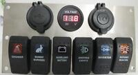 6 Rocker Switch Panel Holder Voltmeter, 12V Socket, USB ARB Carling Narva Size