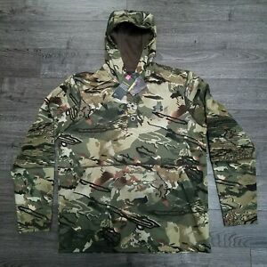UNDER ARMOUR Rut Fleece Hunting Hoodie Mens LARGE Forest Camo Jacket