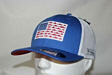 Columbia Pfg Fish Flag Mesh Fitted Ball Cap in Vivid Blue L/Xl 7 - 7 3/4