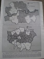 Photo article map London County Council and Greater council Areas 1964 ref AY