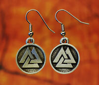 Viking Valknut Earrings in Fine Pewter | Viking Jewelry | Viking Symbols