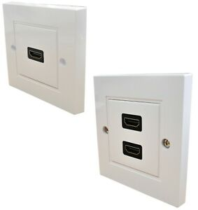 HDMI Twin Dual or Single Face Plate Wall Socket 1 or 2 Sockets EASY INSTALL