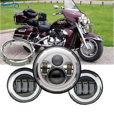"7"" LED Daymaker Headlight Passing Lights Fit Yamaha Royal Star Venture XVZ1300"