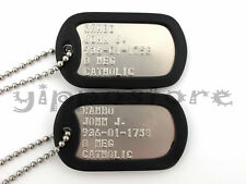 JOHN RAMBO Military Stainless Steel Dog Tag Set Movie Prop Halloween Costume