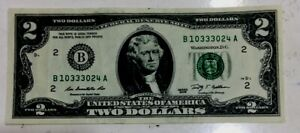 2009 US 2 Dollars BANKNOTE Fancy Number B 10333024 A Nice Collectible Rare