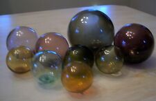 9 Japanese Glass Fishing Floats/Balls Various Sizes All With Seal Buttons