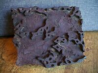 Antique Hand Carved Indian Wooden Fabric Printing Block (Vintage Ink Patterned)