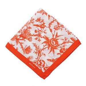 Kiton Napoli Red-Orange Victorian Floral Print Silk Pocket Square